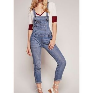Free People Washed Denim Overalls Light Stone 24
